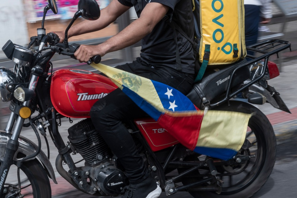 Almos 70% of the delivery drivers are migrants that came primarily from Venezuela. They say that are constantly exposed to xenophobic treatmens. Quito, Ecuador