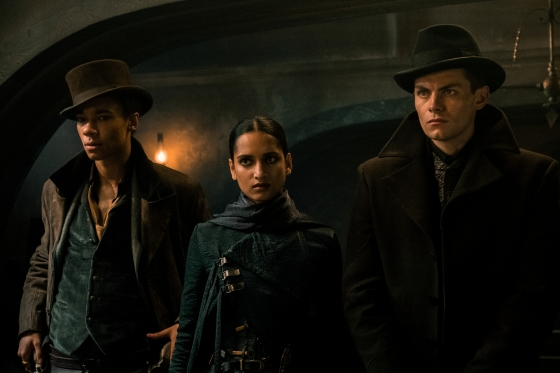 'Shadow and Bone': (l to r) Kit Young as Jesper Fahey, Amita Suman as Inej Ghafa and Freddy Carter as Kaz Brekker