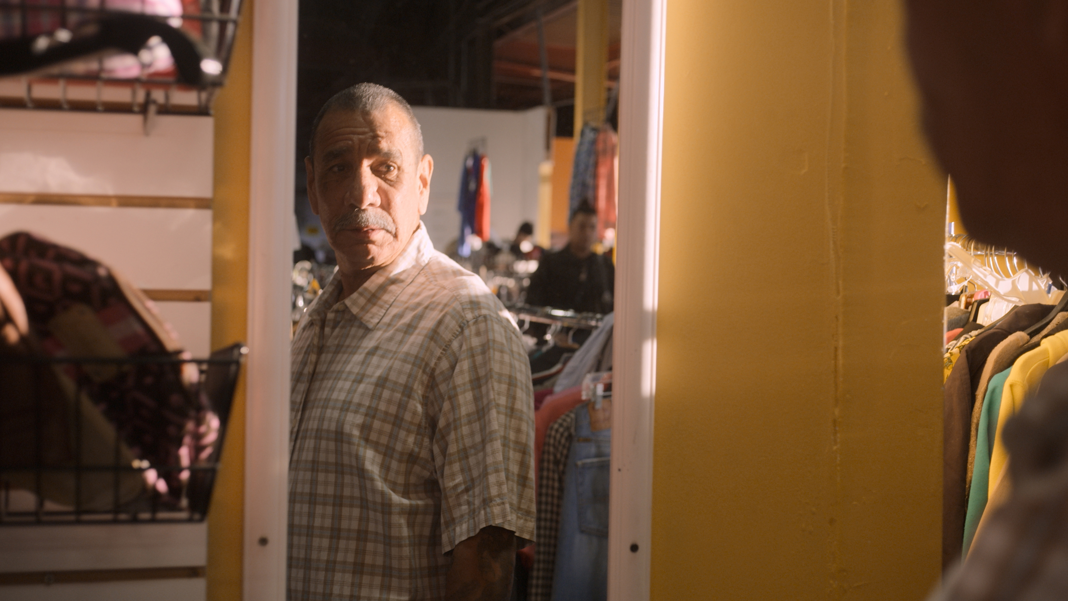 Rudy, who goes shopping after being released from 40 years in prison, in Worn Stories.