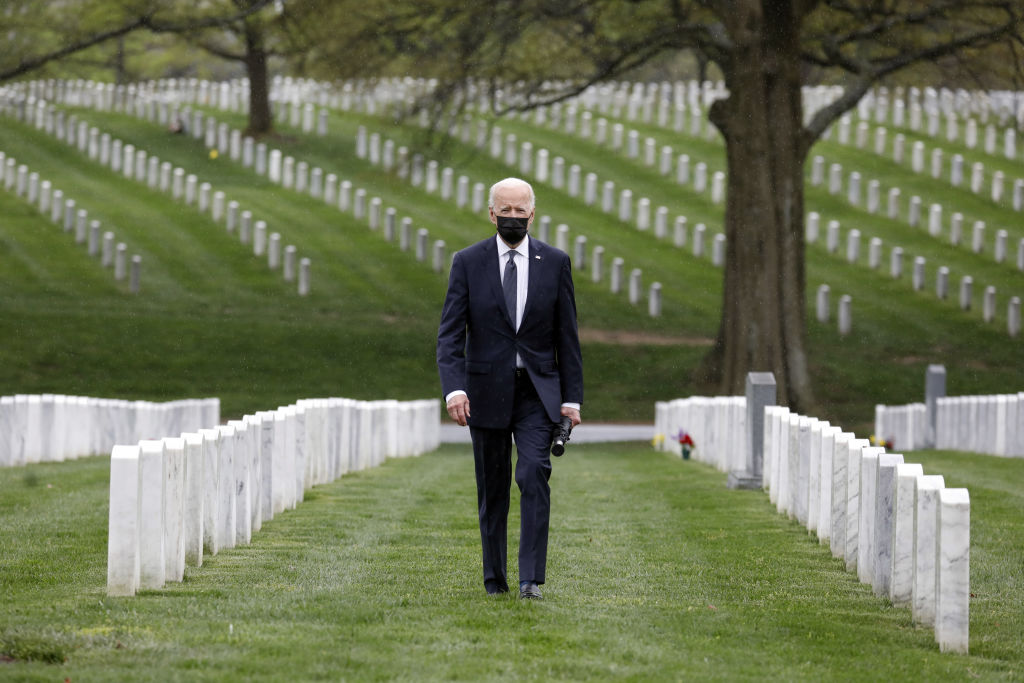 President Joe Biden visits Section 60 of Arlington National Cemetery on April 14, 2021. That day, Bidenannounced his decision to fully withdraw U.S. forces from Afghanistan by the 20th anniversary of the Sept. 11, 2001, attacks.