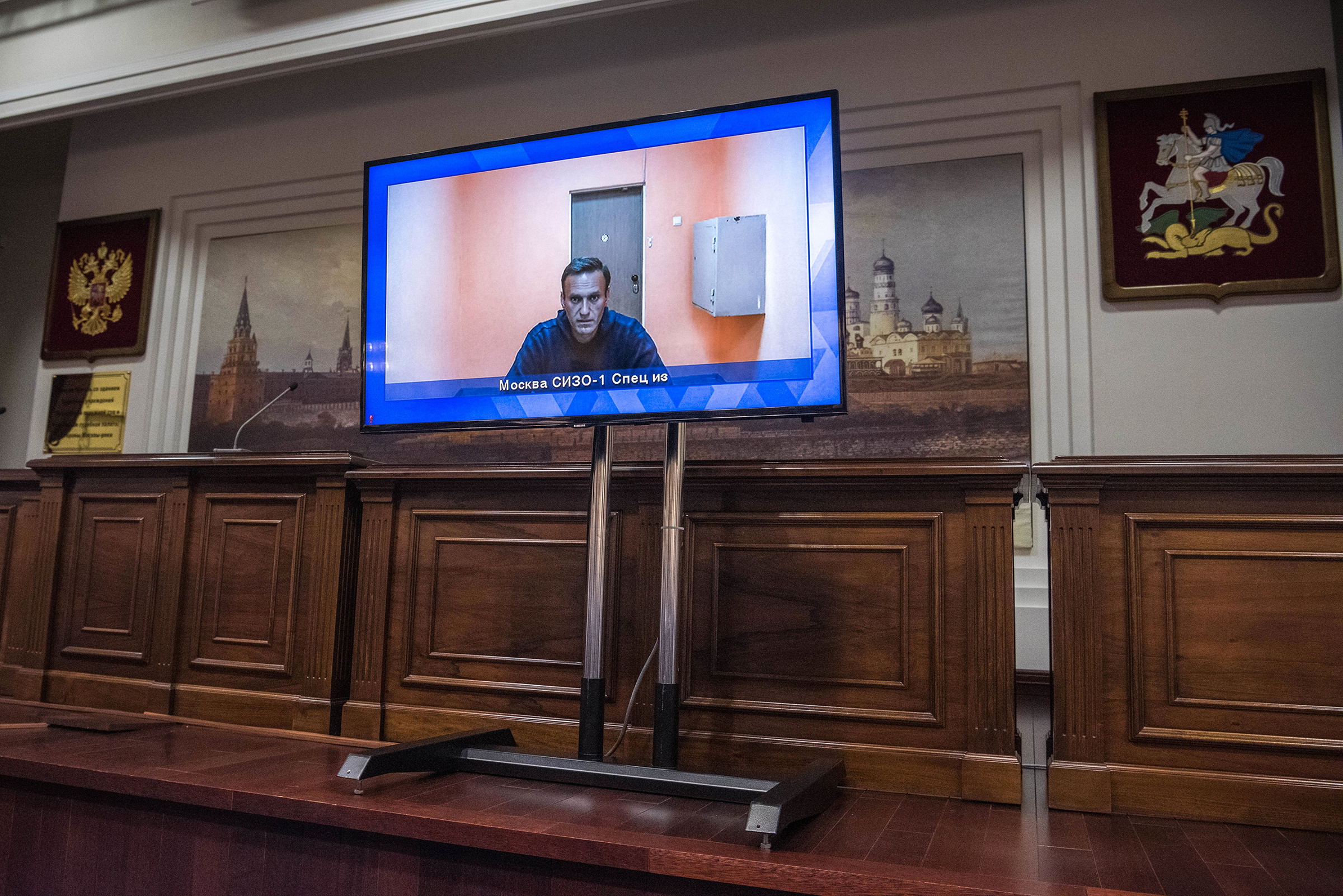 Russian opposition leader Alexei Navalny appears via video link for a court hearing, in which it was directed that he remain imprisoned, in Moscow on Jan. 28, 2021.