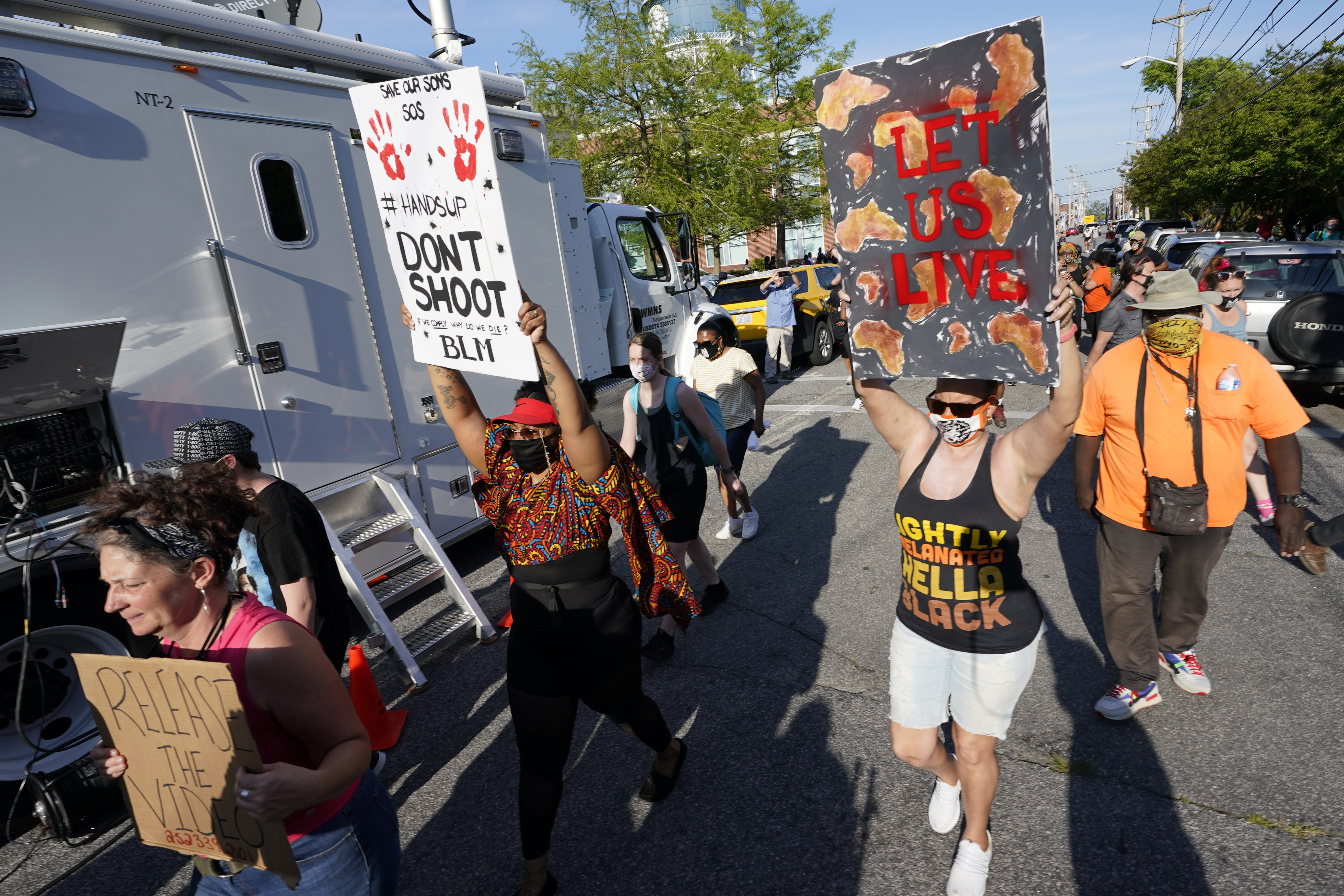 Protesters march along the streets to protest the shooting of Andrew Brown Jr. in Elizabeth City, N.C., Wednesday, April 28, 2021. A judge has denied requests to release body camera video in the case of Brown, a Black man who was killed by North Carolina deputies.