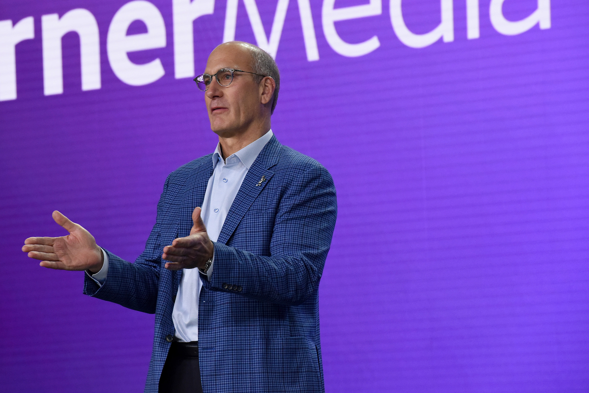 John Stankey, president and chief operating officer of AT&T—and chief executive officer of WarnerMedia—speaks onstage at HBO Max WarnerMedia Investor Day Presentation at Warner Bros. Studios on Oct. 29, 2019 in Burbank, Calif.