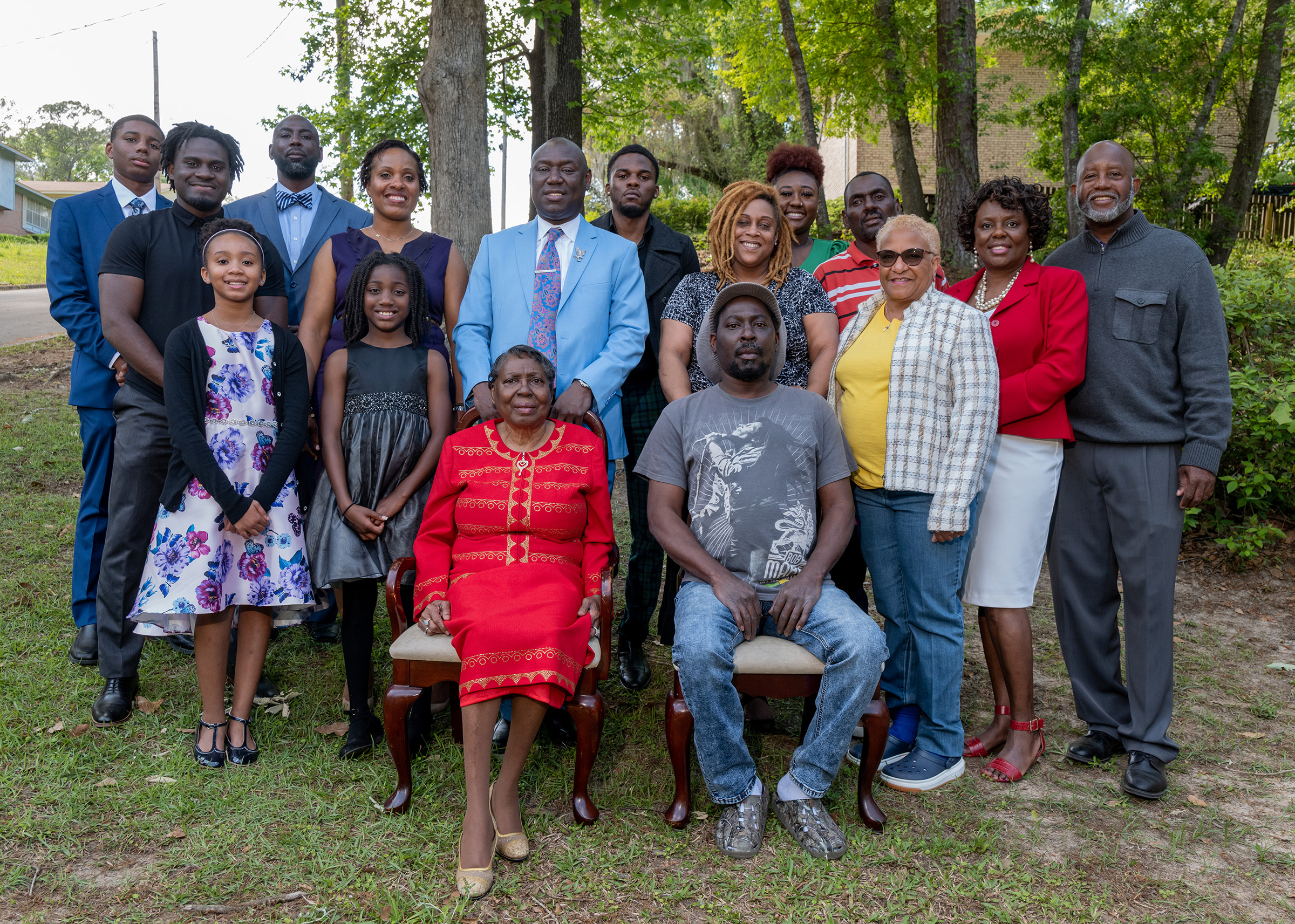 Crump stands behind his mother as the family poses for a photo on Easter Sunday, in Tallahassee, Fla., on April 4.