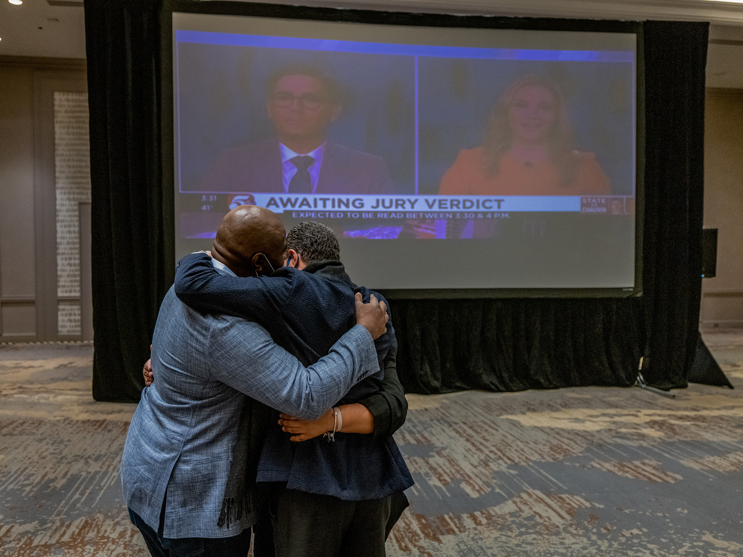 Members of George Floyd's family and legal team hug after the guilty verdict is called in the trial of former police officer Derek Chauvin in Minneapolis, on April 20.