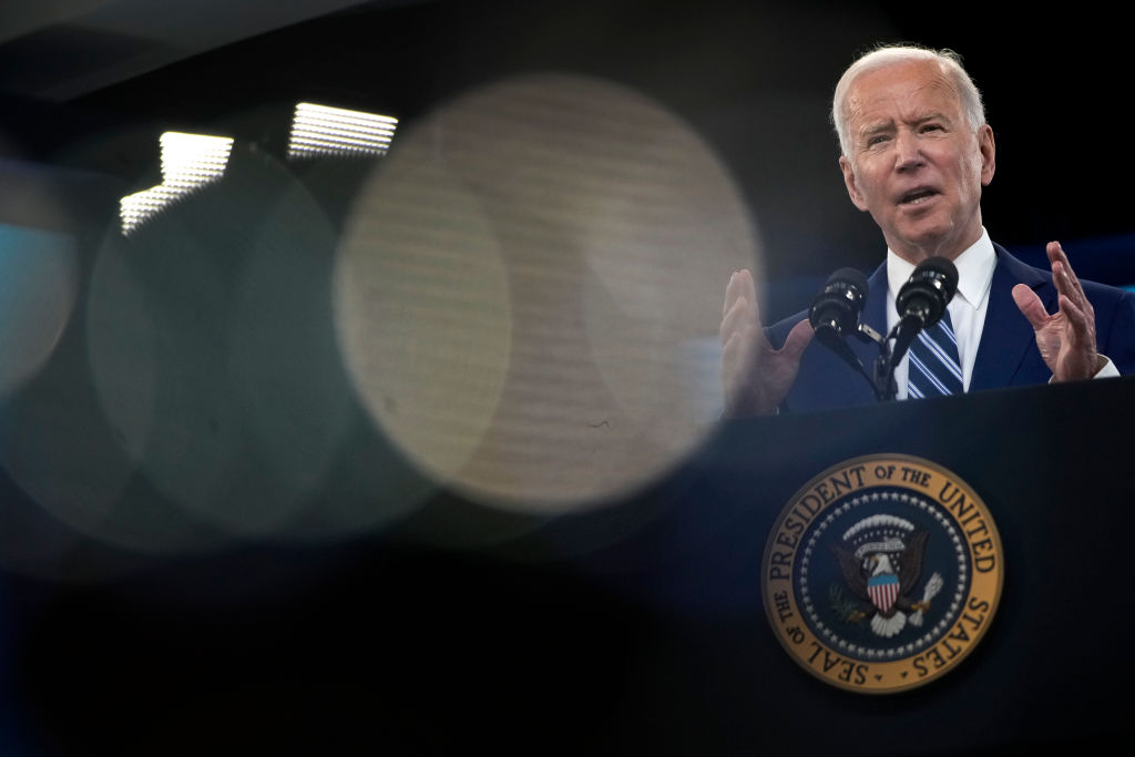 U.S. President Joe Biden delivers remarks on the COVID-19 response and the state of vaccinations in the South Court Auditorium at the White House complex on March 29, 2021 in Washington, D.C.