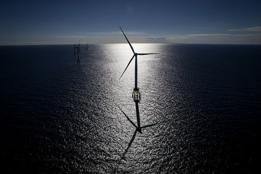 The GE-Alstom Block Island Wind Farm stands in the water off Block Island, Rhode Island, U.S., on Wednesday, Sept. 14, 2016.