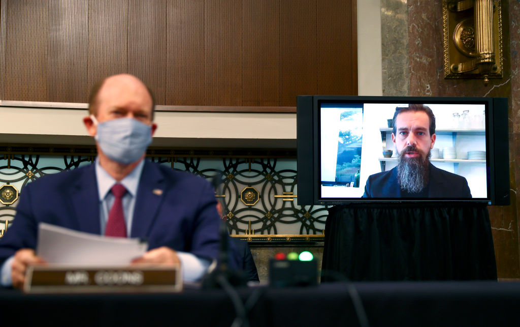 WASHINGTON, DC - NOVEMBER 17:  Twitter CEO Jack Dorsey testifies remotely during a Senate Judiciary Committee hearing titled,  Breaking the News: Censorship, Suppression, and the 2020 Election  on Capitol Hill on November 17, 2020 in Washington, DC. Facebook CEO Mark Zuckerberg also testified remotely.