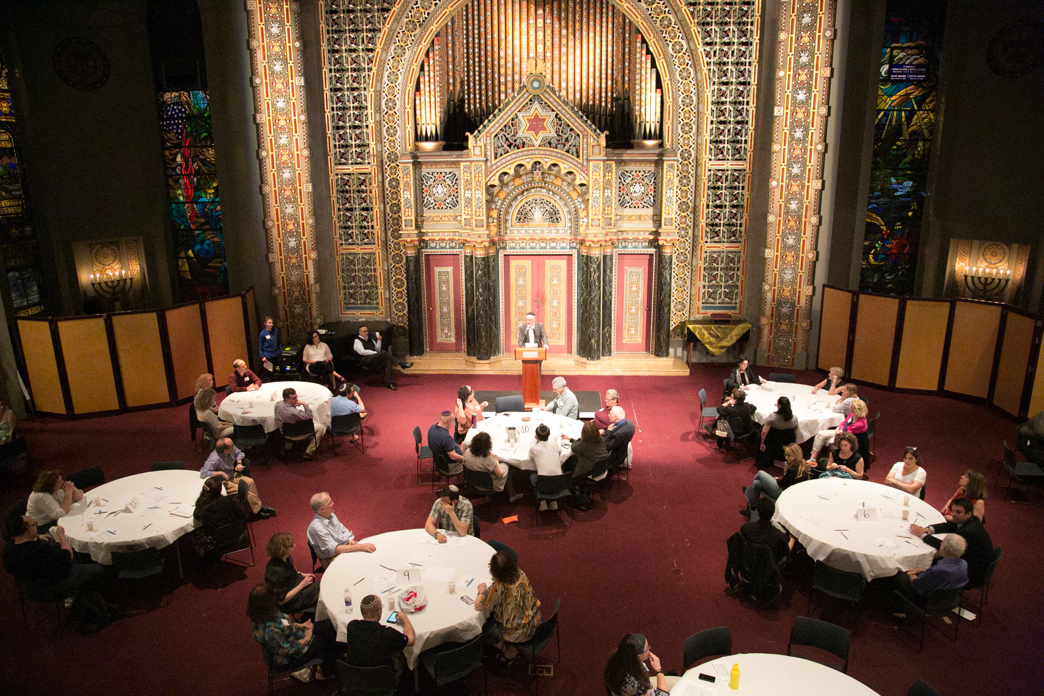 Synagogue B'nai Jeshurun congregants discussing interfaith marriage in the synagogue on May 17, 2017.