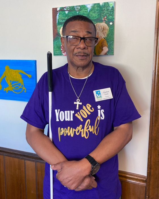 Gaylon Tootle, a Black and blind disability advocate in Georgia.