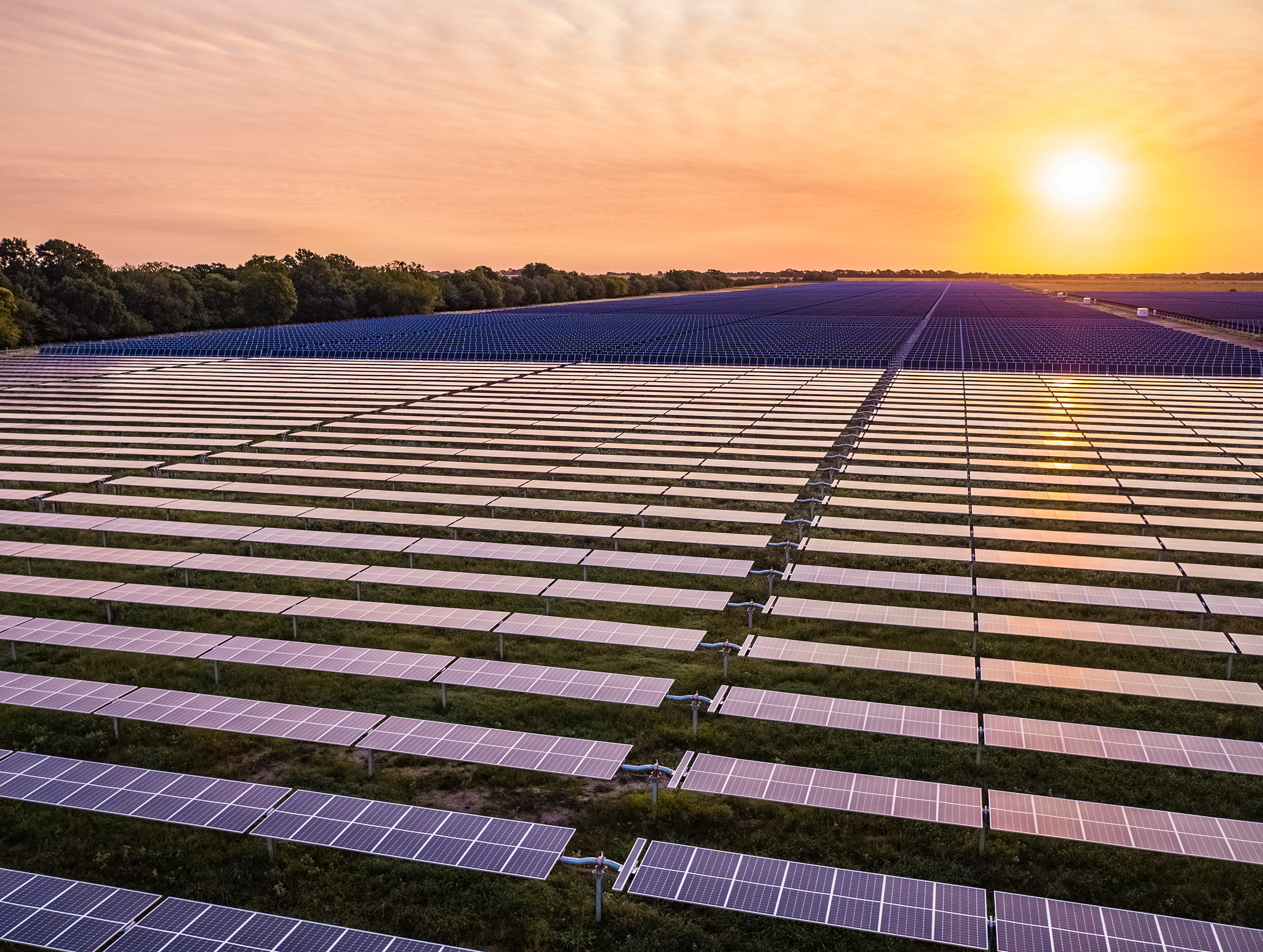 Construction of Lightsource bp's Impact Solar project in Lamar County, Texas, in 2020. When complete, the 260 megawatt solar farm is expected to generate approximately 450,000 megawatt hours of solar power annually.
