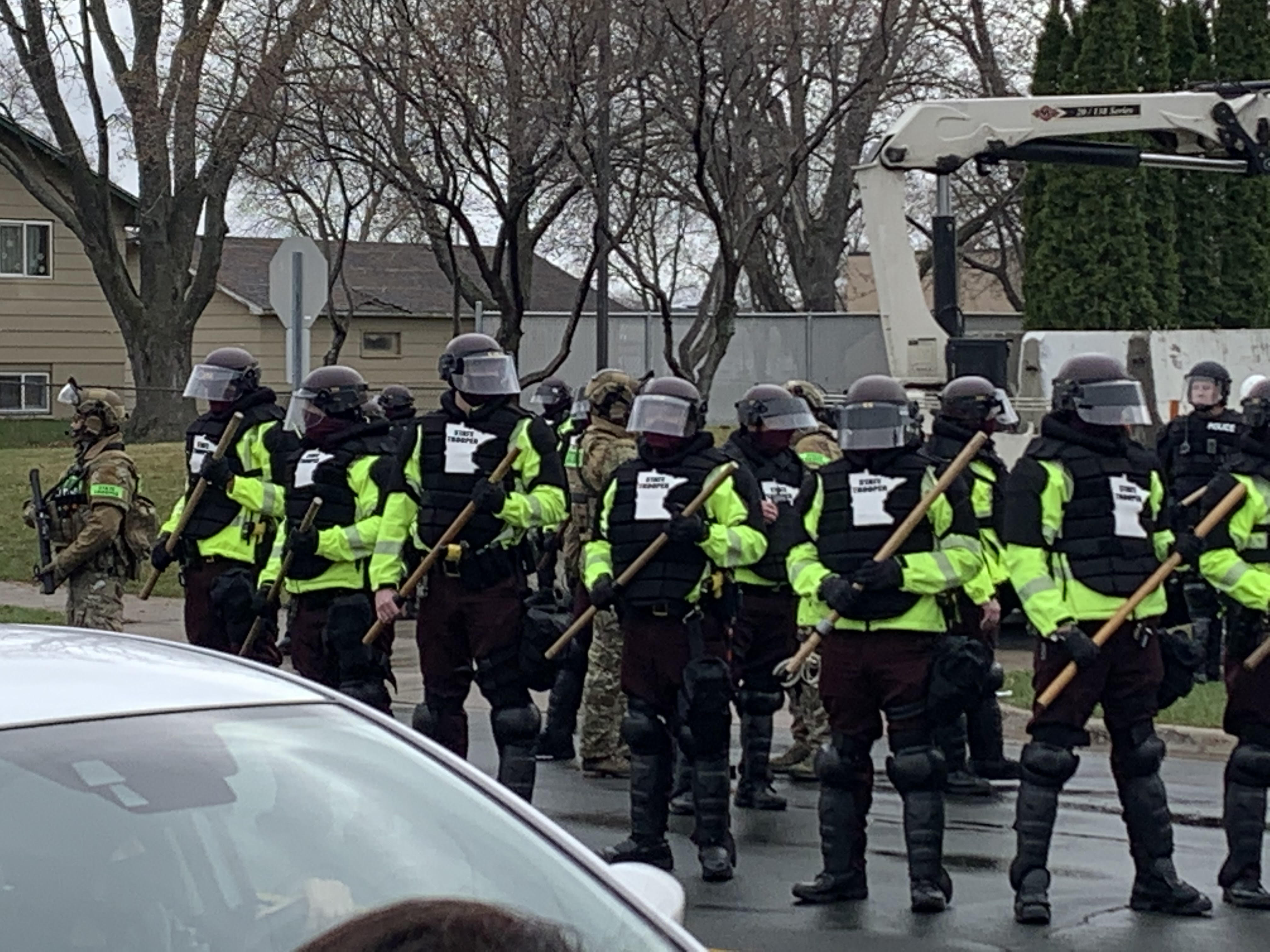 Minnesota state troopers deployed to Brooklyn Center, Minn. on April 12