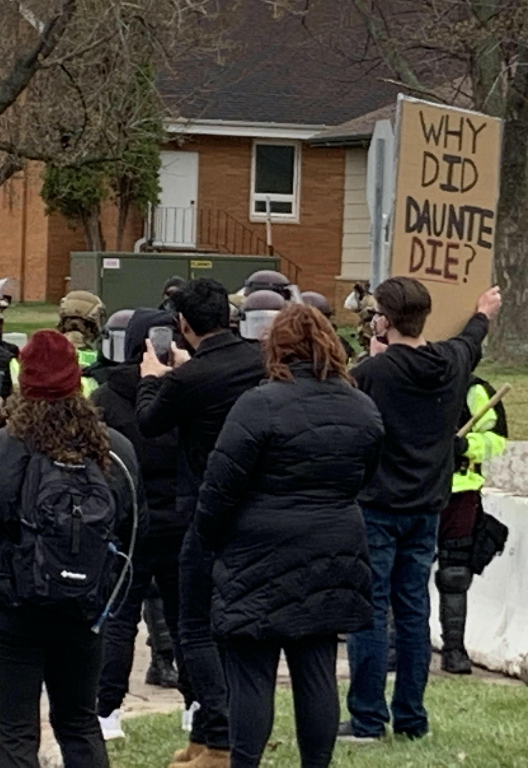 Protestors in Brooklyn Center, Minn. on April 12.