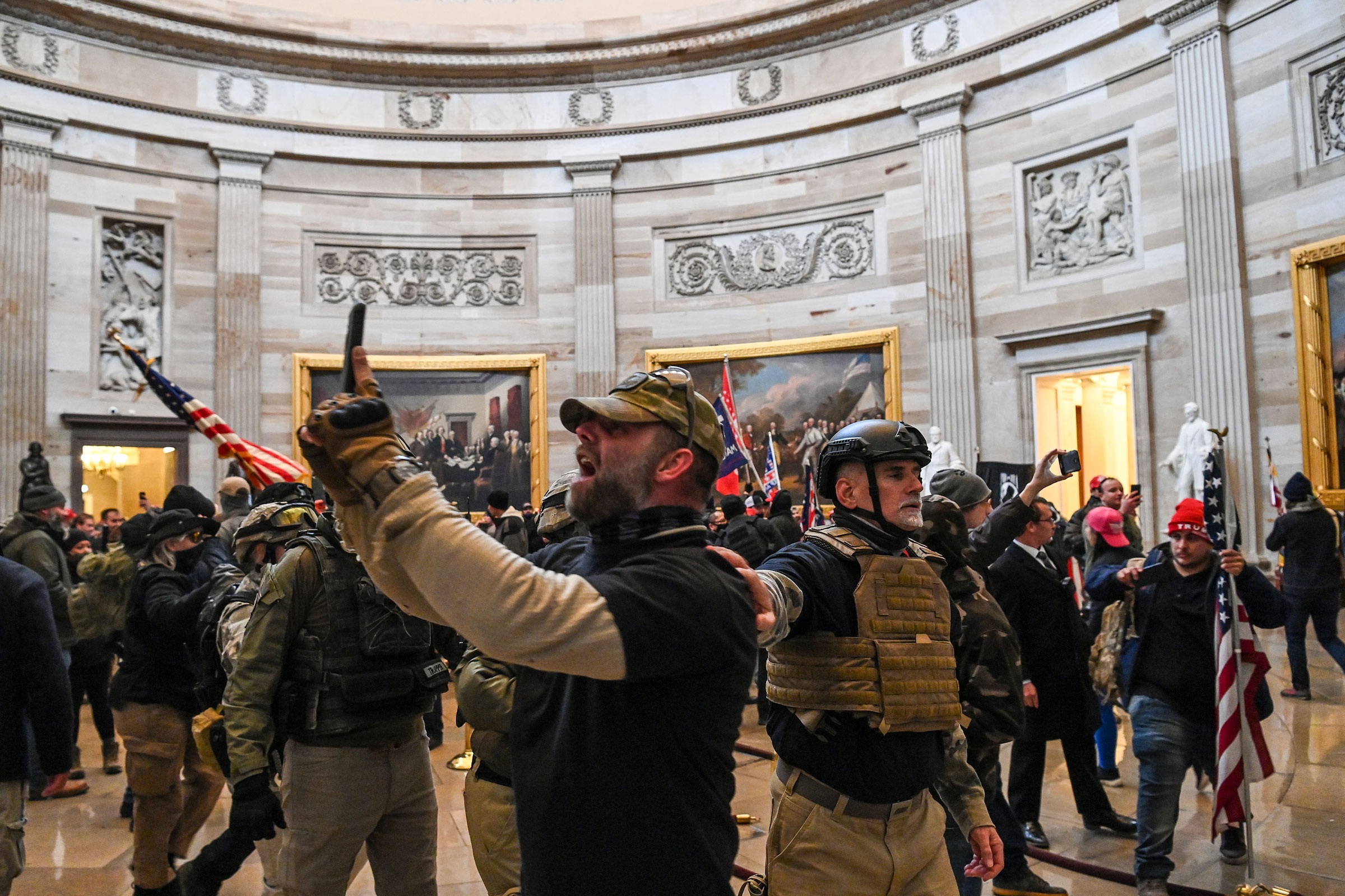 Supporters of President Donald Trump in the US Capitol's Rotunda after breeching police barriers in Washington, DC, on Jan. 6, 2021.
