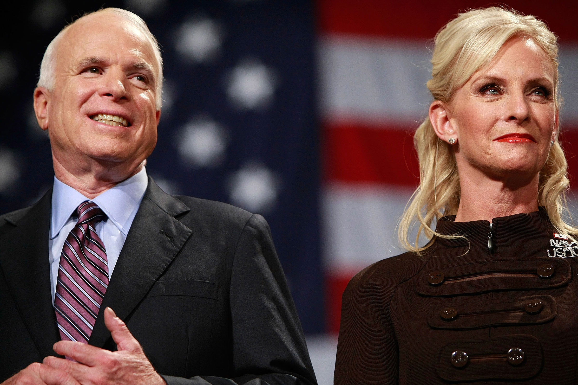Then Republican presidential nominee Sen. John McCain and his wife Cindy McCain attend a rally in Thorndale, Pa. on Oc.t 16, 2008.