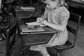 Young Girl Studying in Class, Southington, Connecticut, May 1942