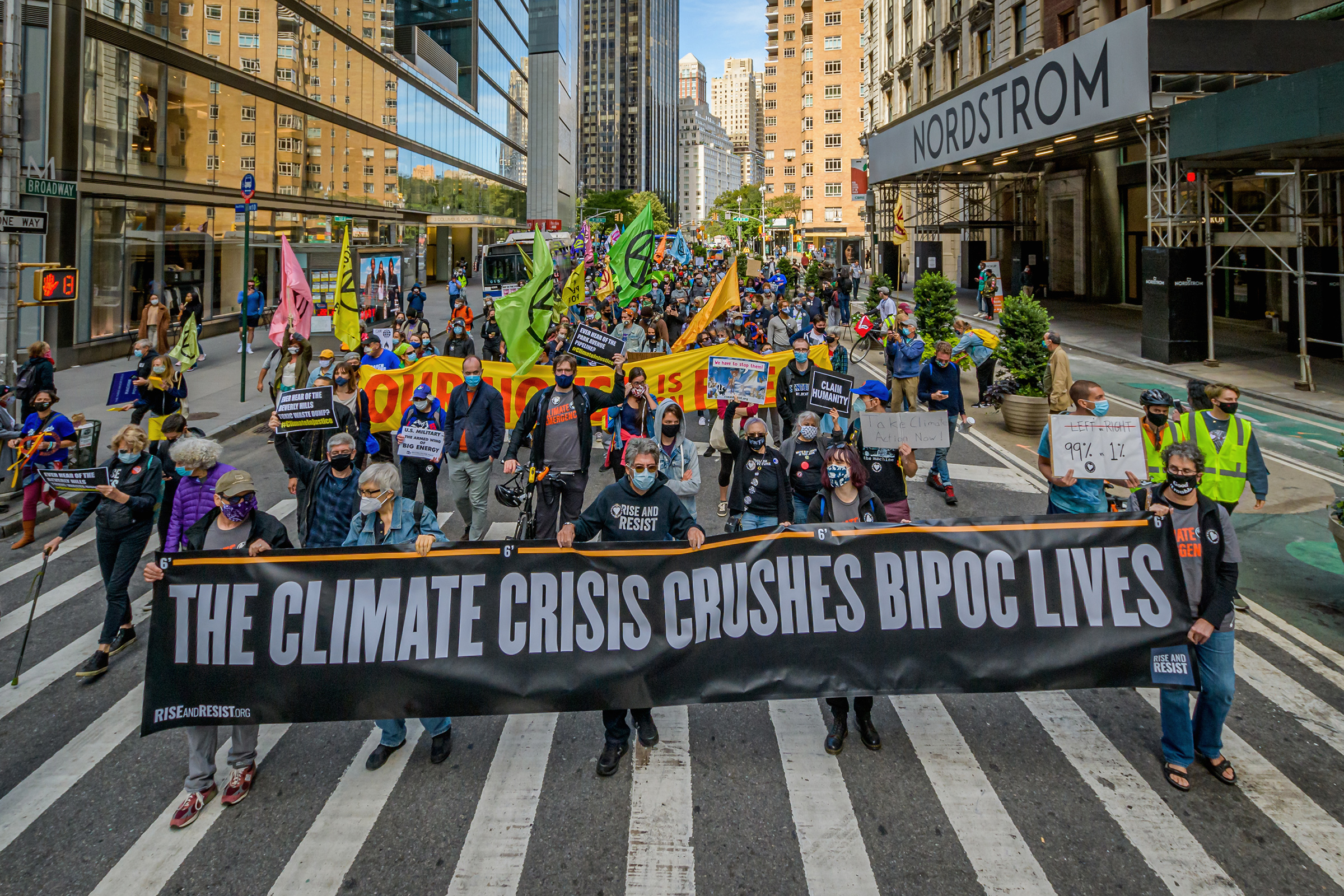 A coalition of climate, Indigenous and racial justice groups gathered at Columbus Circle to kick off Climate Week with the Climate Justice Through Racial Justice march on Sept. 20, 2020.
