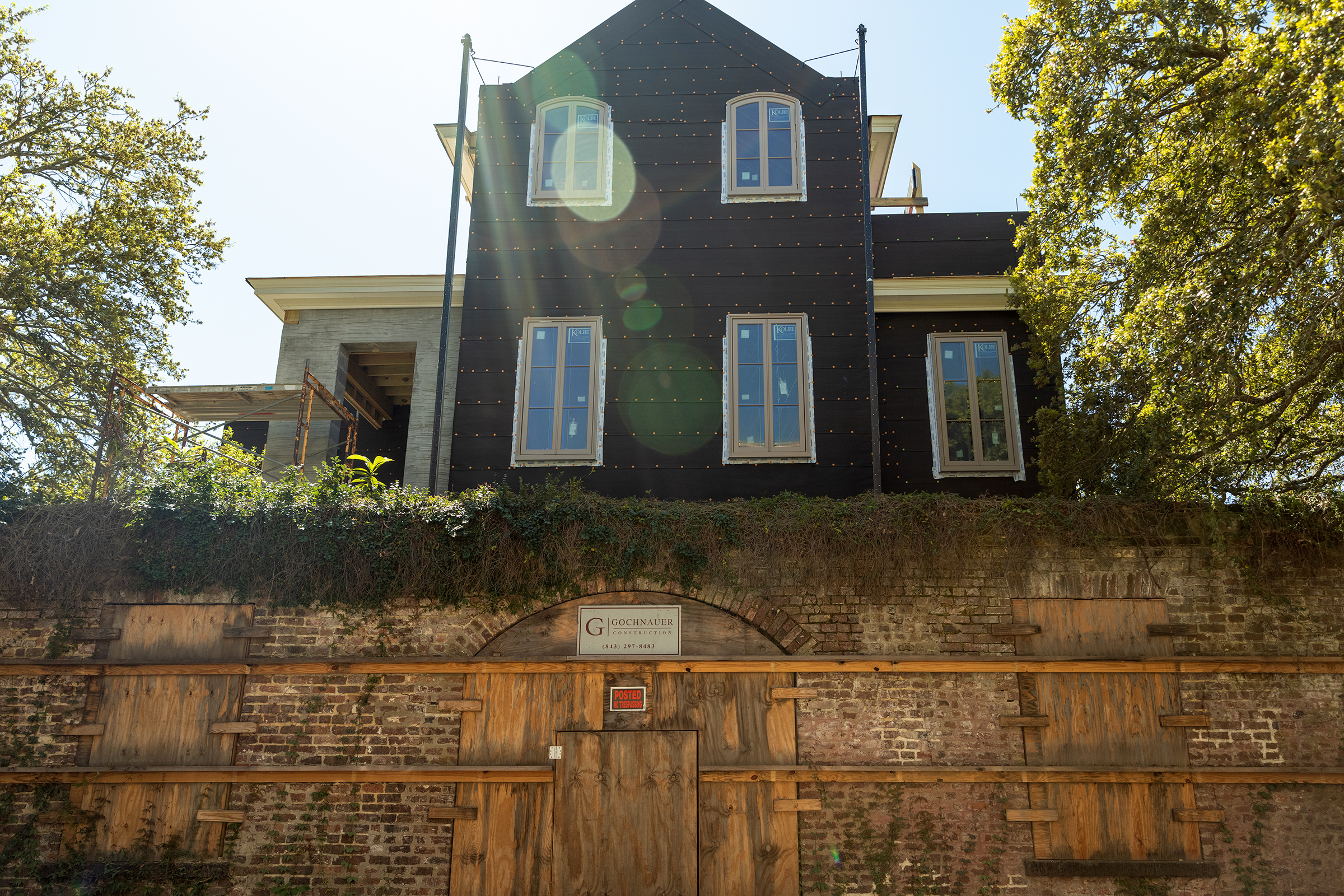 A house in downtown Charleston that was raised to mitigate damage from future floods.