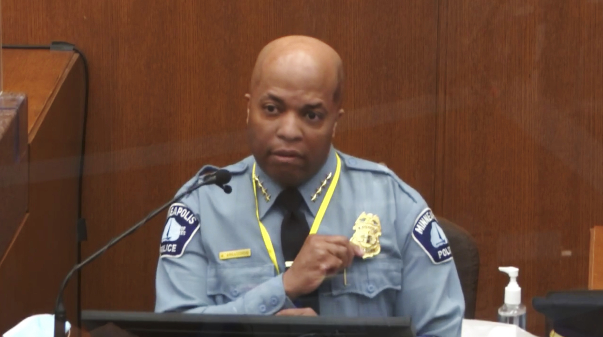 In this image from video, witness Minneapolis Police Chief Medaria Arradondo testifies as Hennepin County Judge Peter Cahill presides Monday, April 5, 2021, in the trial of former Minneapolis police Officer Derek Chauvin at the Hennepin County Courthouse in Minneapolis.