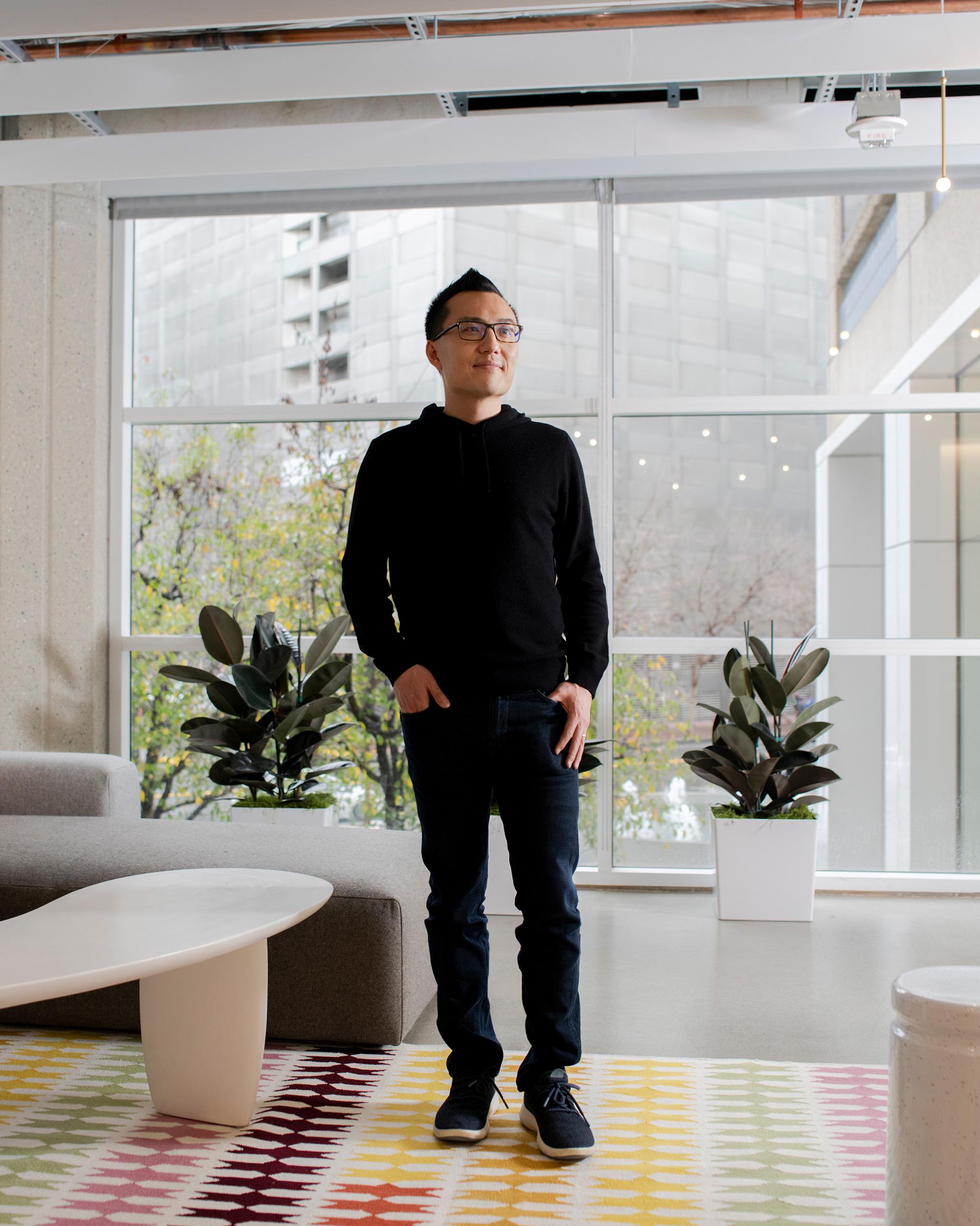 DoorDash CEO Tony Xu at the company's headquarters in San Francisco on Jan. 16, 2020.
