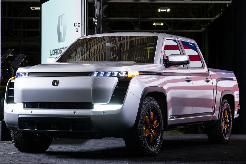 The Lordstown Motors Corp. Endurance electric pickup truck is displayed during an unveiling event in Lordstown, Ohio, U.S., on Thursday, June 25, 2020.