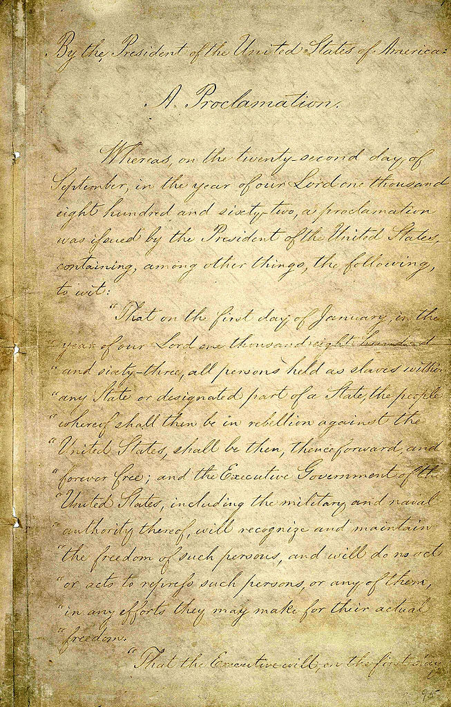 Page one of the original Emancipation Proclamation is seen Jan. 19, 2003, at the National Archives in Washington, D.C.