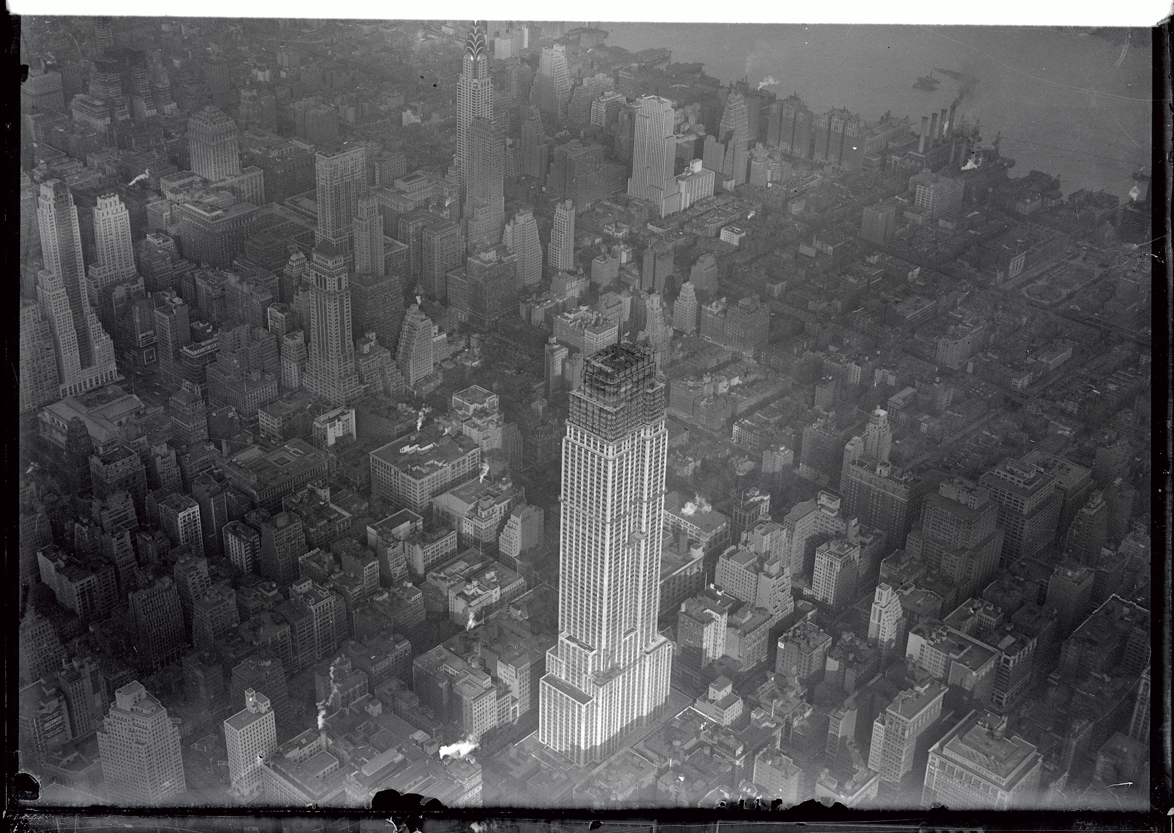 An aerial photograph of The Empire State Building from October 1930. At the time, there were 88 stories finished.