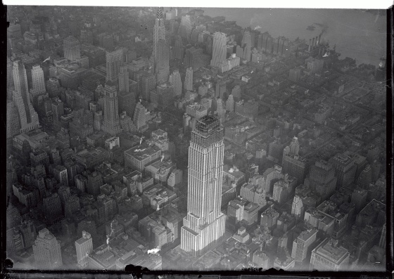 An aerial photograph of The Empire State Building from October 1930. There are 88 stories finished, and when completion, will reach 102 stories.