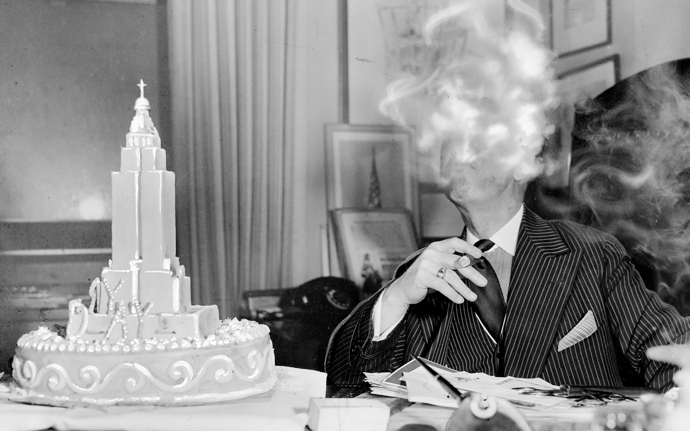 Al Smith pictured at his office atop the Empire State Building on his 69th birthday, Dec. 30, 1942