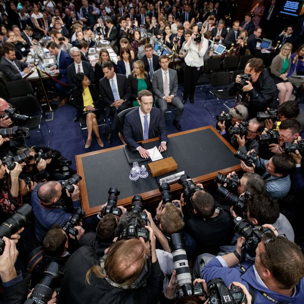 Facebook CEO Mark Zuckerberg testifies at a joint hearing of the Senate Judiciary and Commerce committees in Washington, D.C. on April 10, 2018.