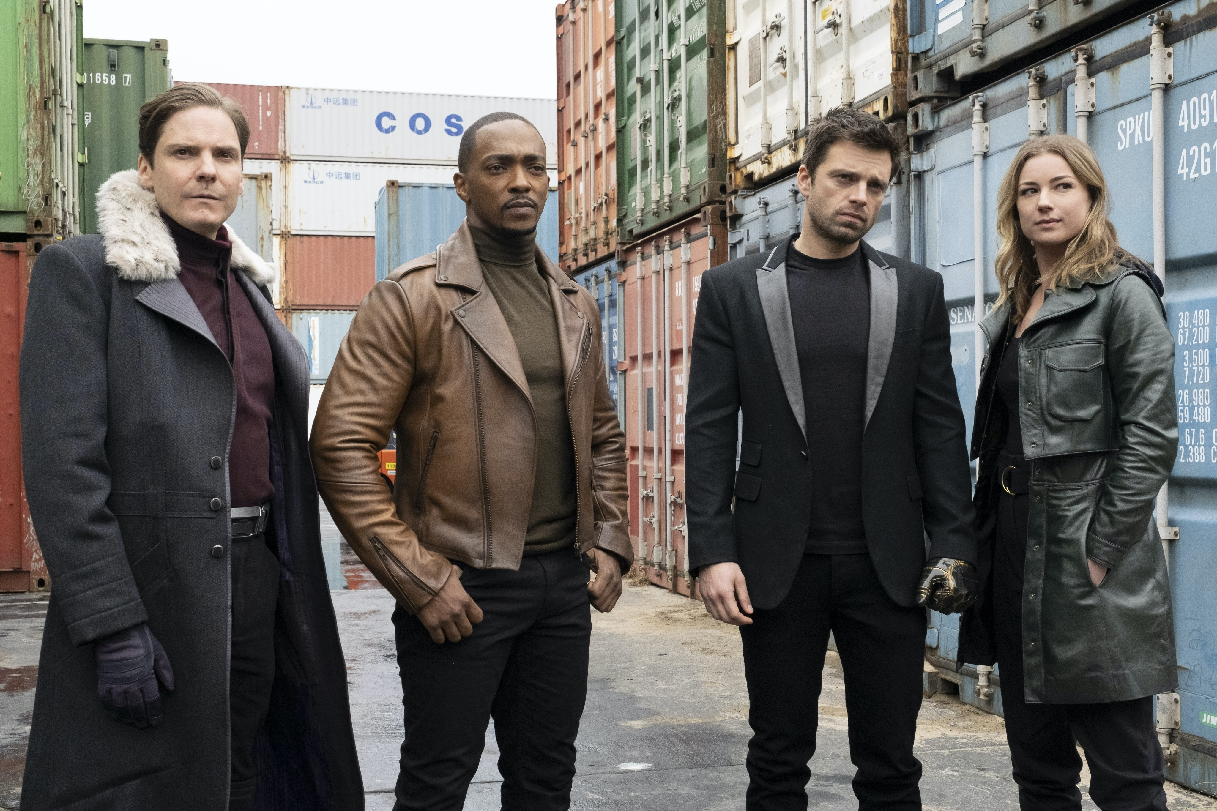 (L-r) Daniel Brühl, Anthony Mackie, Sebastian Stan and Emily VanCamp in Falcon and the Winter Soldier
