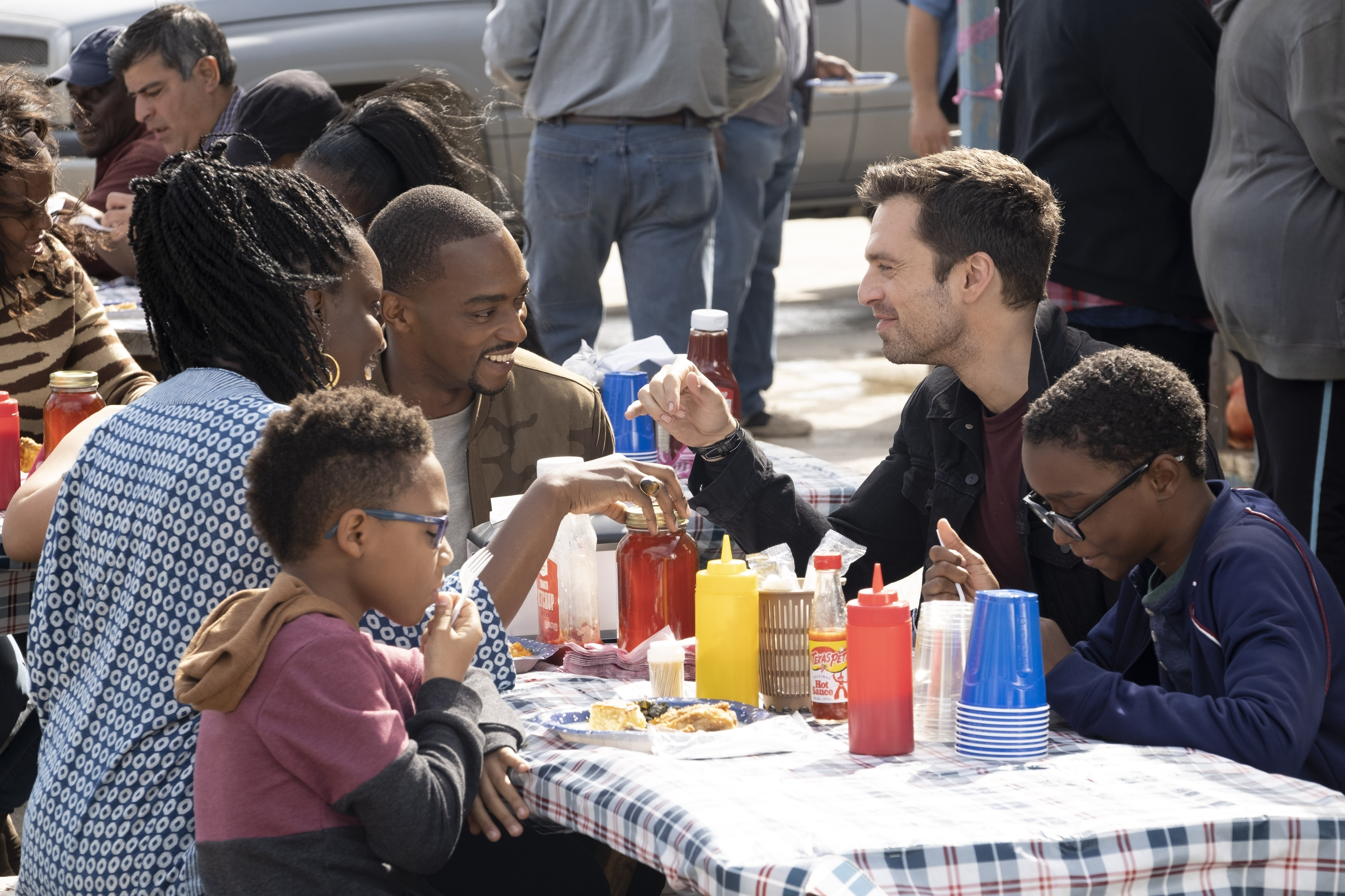 (L-R) Adepero Oduye, Anthony Mackie and Sebastian Stan in Falcon and the Winter Soldier