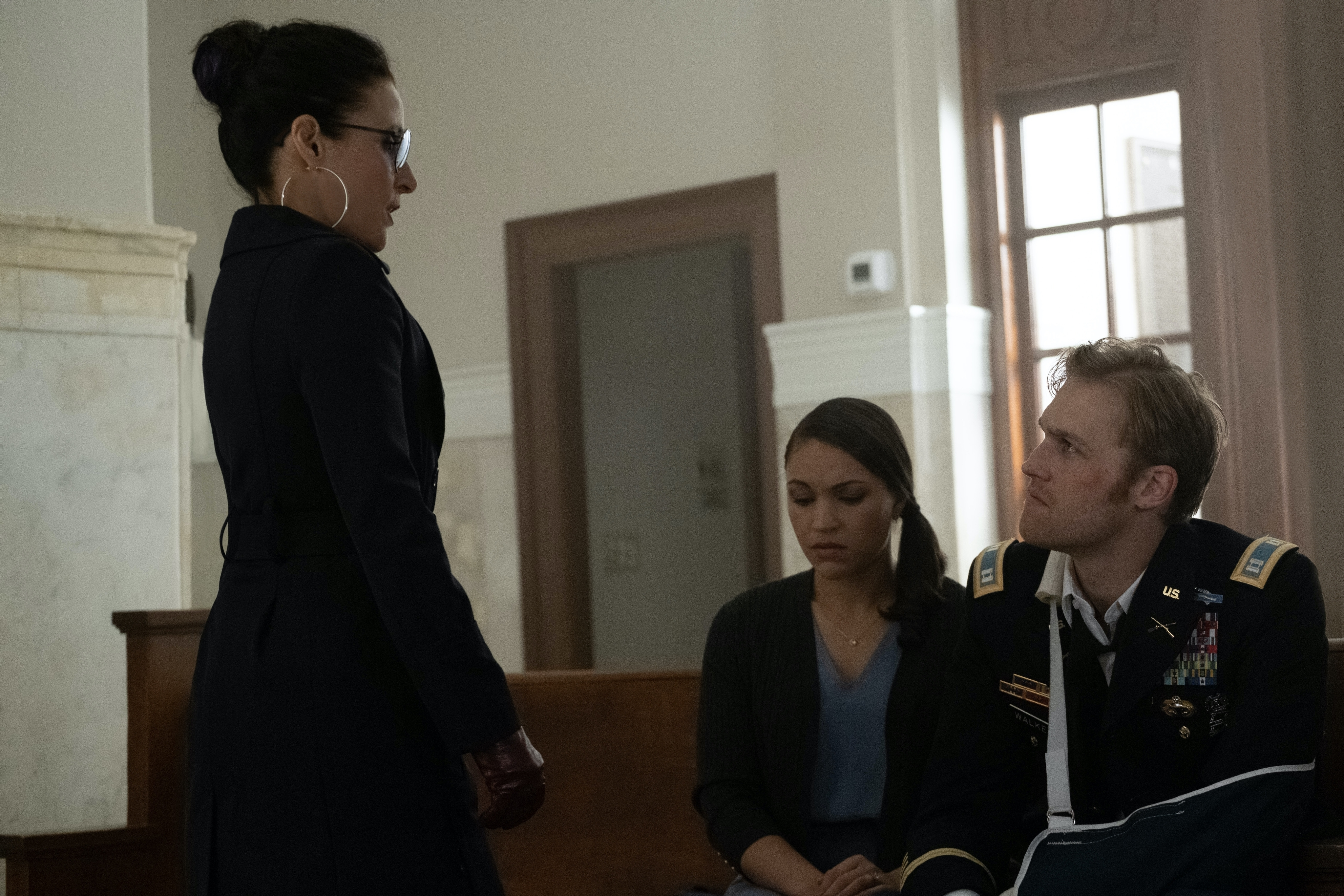 (L-R) Julia Louis Dreyfus, Gabrielle Byndloss and Wyatt Russell in Falcon and the Winter Soldier