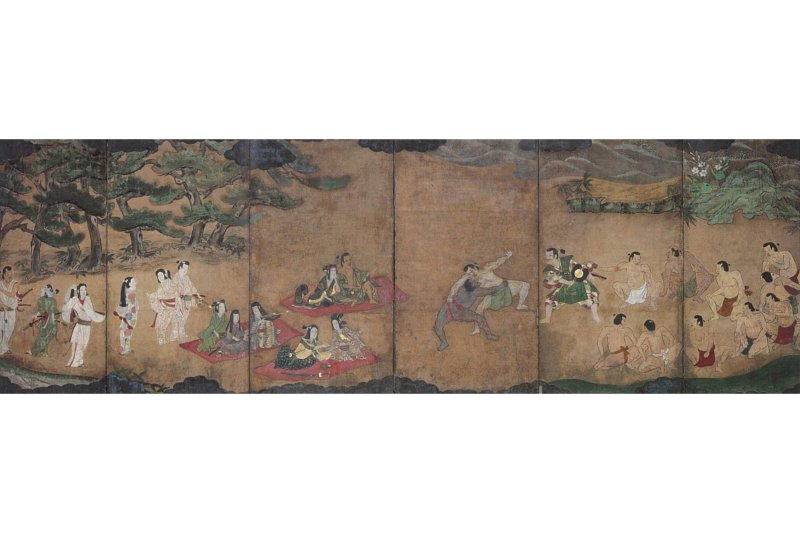 Sumō yūrakuzu byōbu, drawn in 1605 by an anonymous artist. Author Thomas Lockley said that the individual in green, in the third panel from the left, is believed to be Nobunaga. He said it's highly likely that the Black man depicted in the artwork is Yasuke.