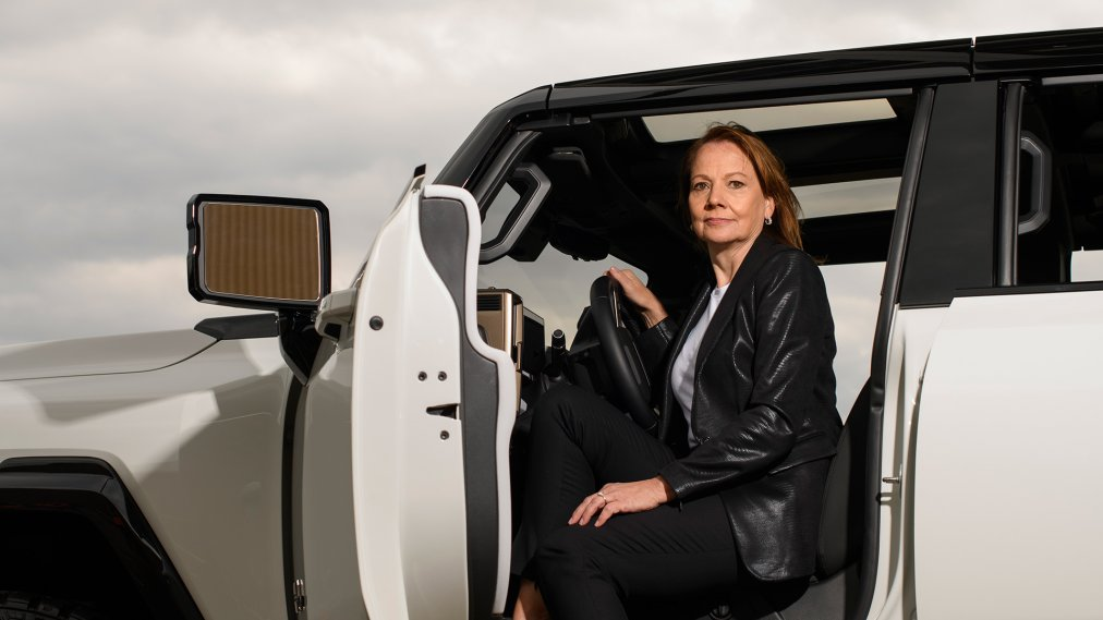 Mary Barra, CEO of GM, pictured with the new GMC Hummer EV at GM's Factory ZERO, in Detroit on April 14, 2021.