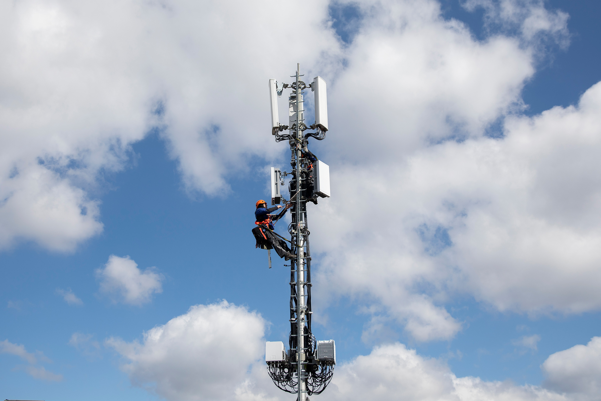 An installation of a 5G antenna in Bern, Switzerland on Mar. 26, 2019.
