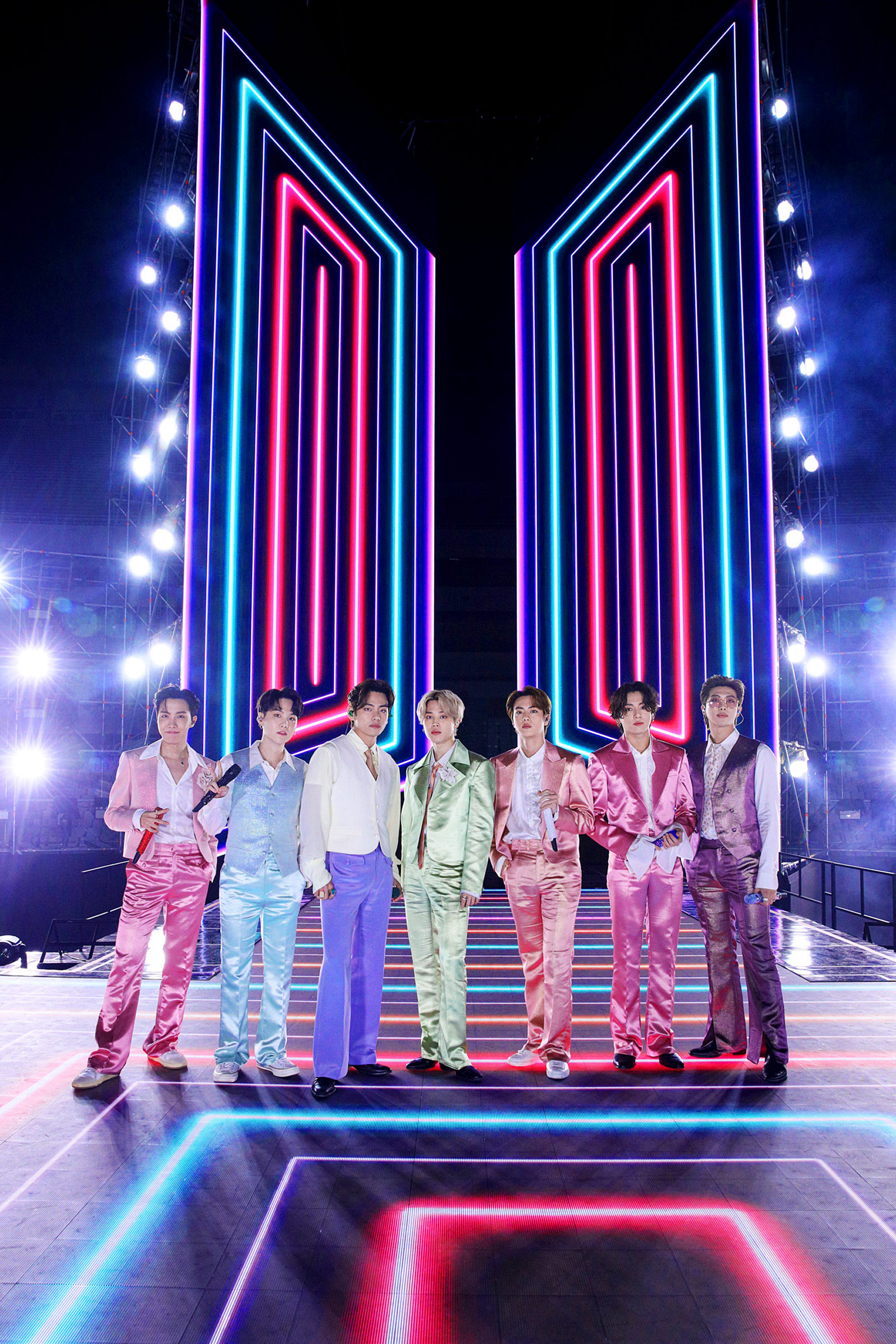 BTS perform onstage for the 2020 American Music Awards in South Korea on Nov. 22, 2020.