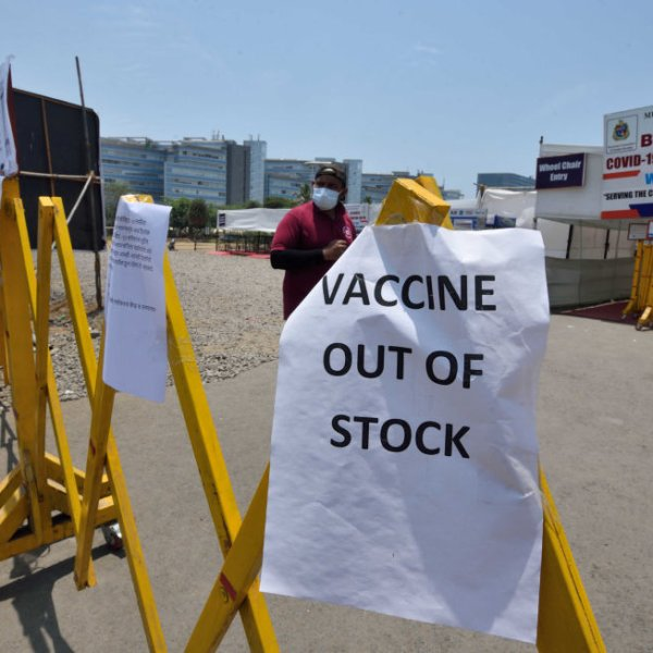 A COVID-19 vaccination center in Mumbai, India, is closed due to a shortage of vaccine on April 19, 2021 as India experiences the largest surge of the disease in the world.