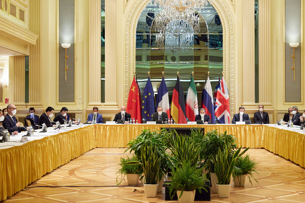 In this handout provided by the EU Delegation in Vienna, Representatives of the European Union, Iran and others attend the Iran nuclear talks at the Grand Hotel on April 15, 2021 in Vienna, Austria. Representatives from the United States, Iran, the European Union, Russia, China and other participants from the original Joint Comprehensive Plan of Action (JCPOA) are meeting directly and indirectly over possibly reviving the plan. The JCPOA was the European-led initiative by which Iran agreed not to pursue a nuclear weapon in exchange for concessions, though the United States, under the administration of former U.S. President Donald Trump, abandoned the deal and intensified sanctions against Iran.