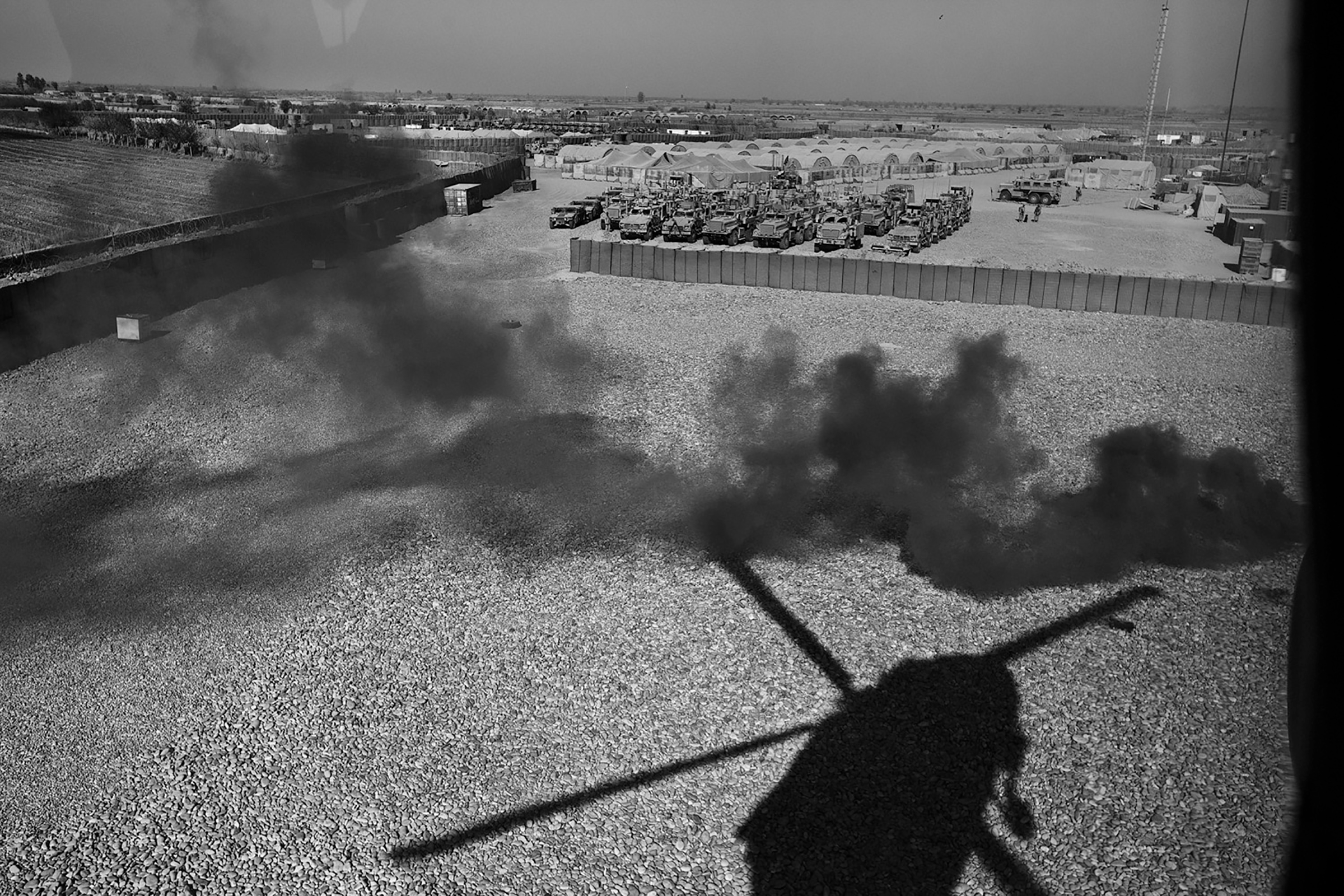 A Black Hawk helicopter lifts off from a base in southern Afghanistan.