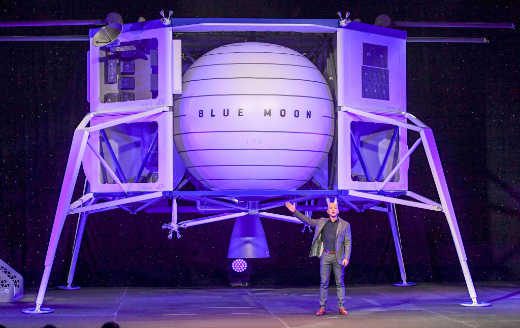 Jeff Bezos, founder of Amazon, the Washington Post and Blue Origin, introduces his space company's newly developed lunar lander  Blue Moon.