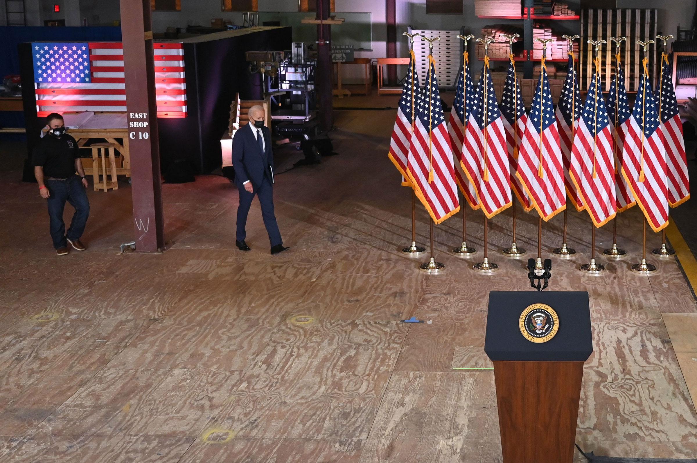 President Joe Biden walks to the lectern before speaking in Pittsburgh, Pa. on March 31, 2021.