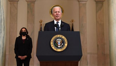 Vice President Kamala Harris listens as US President Joe Biden delivers remarks on the guilty verdict against former policeman Derek Chauvin at the White House in Washington, DC, on April 20, 2021.