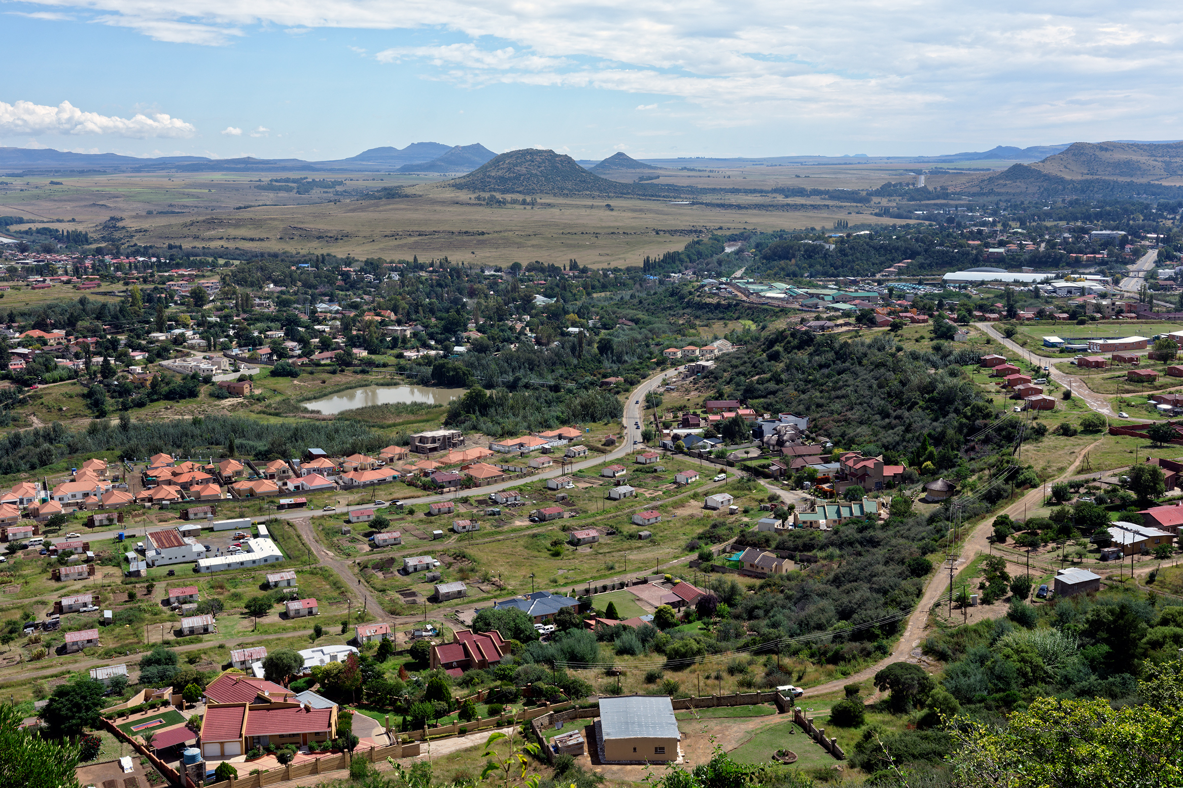 An aerial view of central Maseru, the capital of Lesotho.