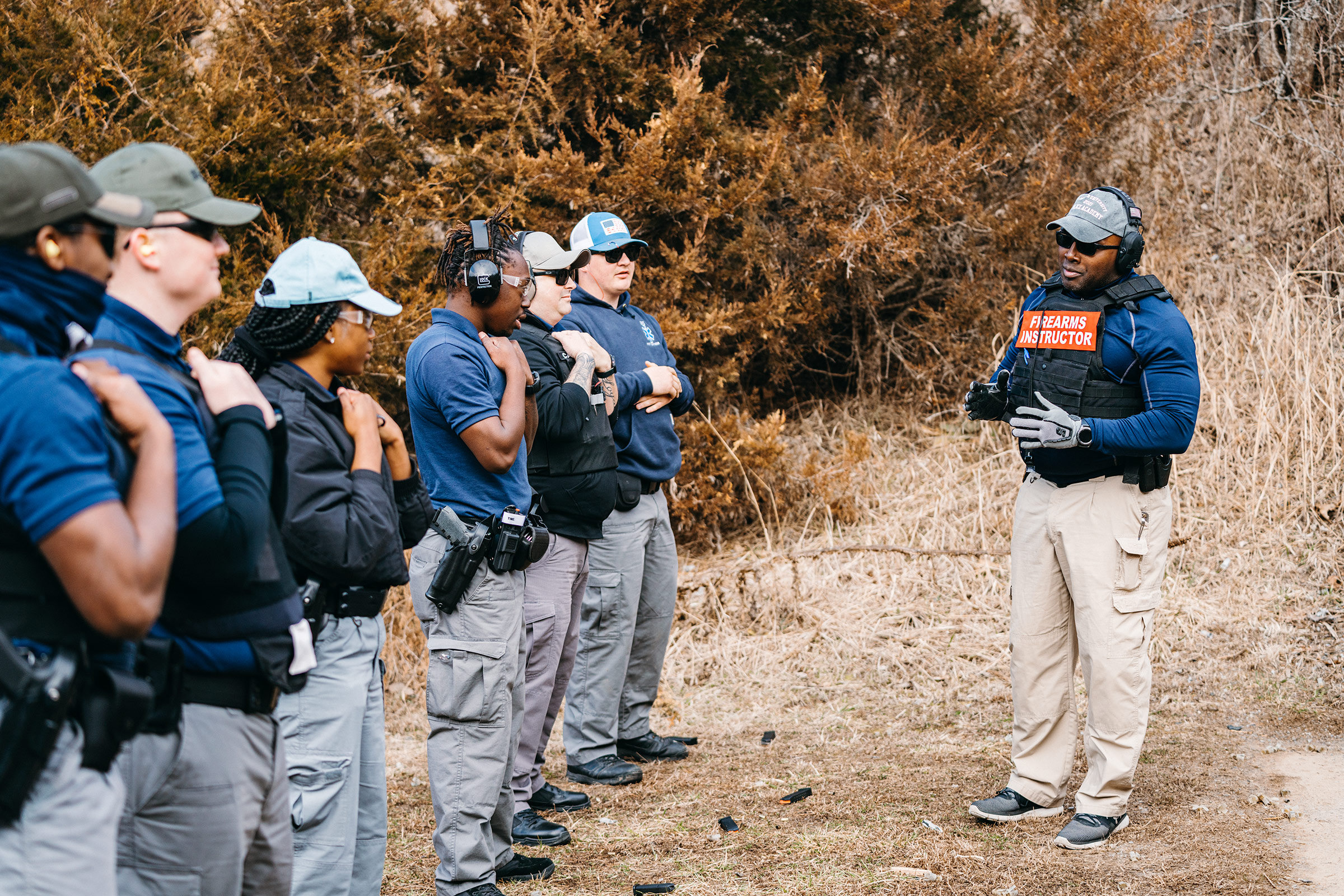 Lincoln University police chief Gary Hill prepares recruits for firearms training at a shooting range in Missouri on March 6