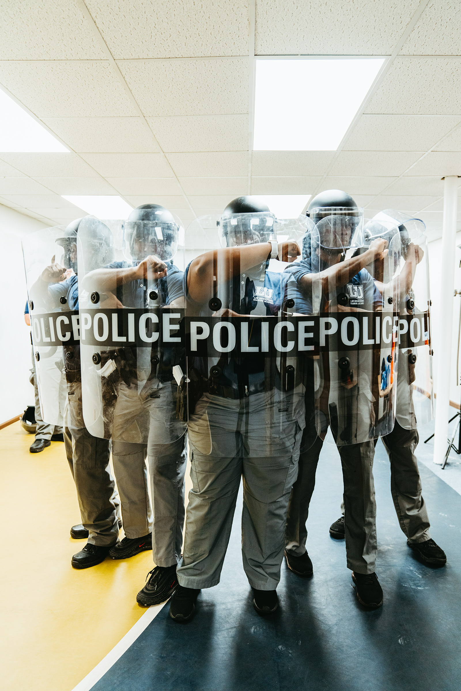 Students in tactical training at the Lincoln University Police Academy in Jefferson City, Mo., on March 12