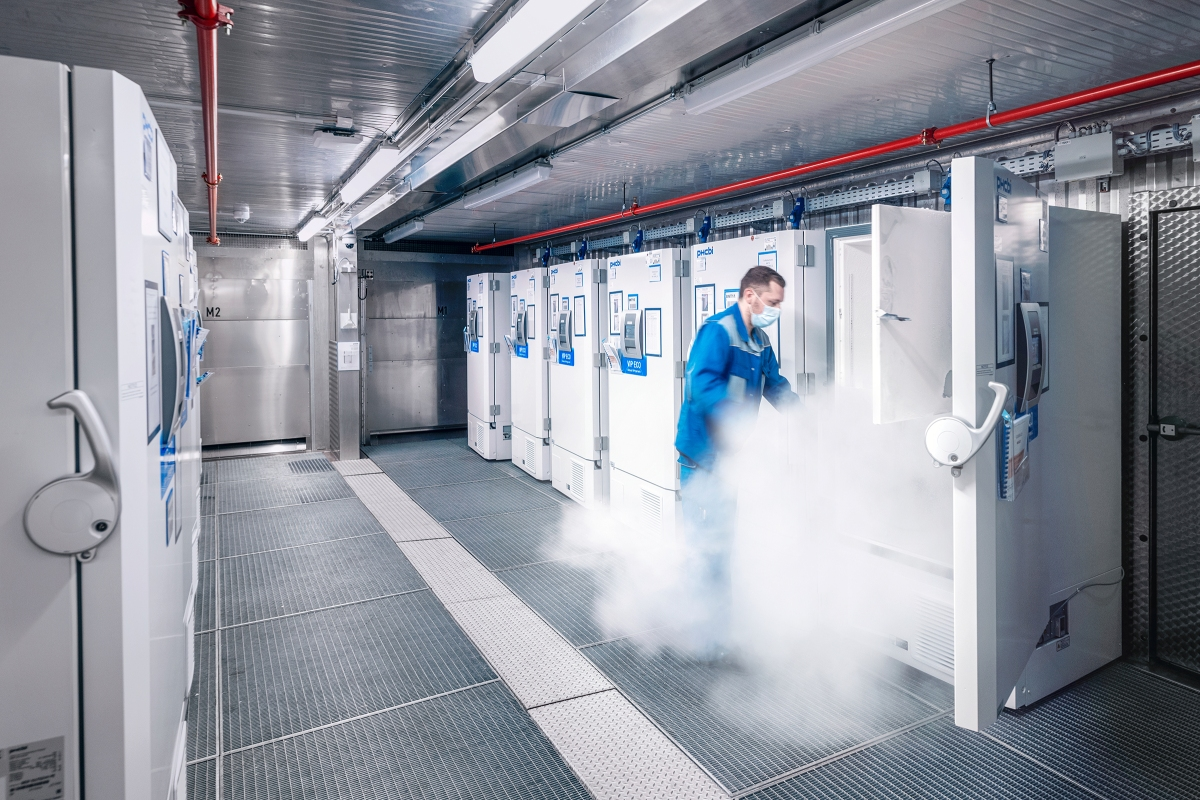 Once bottled, the Pfizer-BioNTech vaccine is stored at -82°C (-116°F) at a filling and labeling facility in Halle.