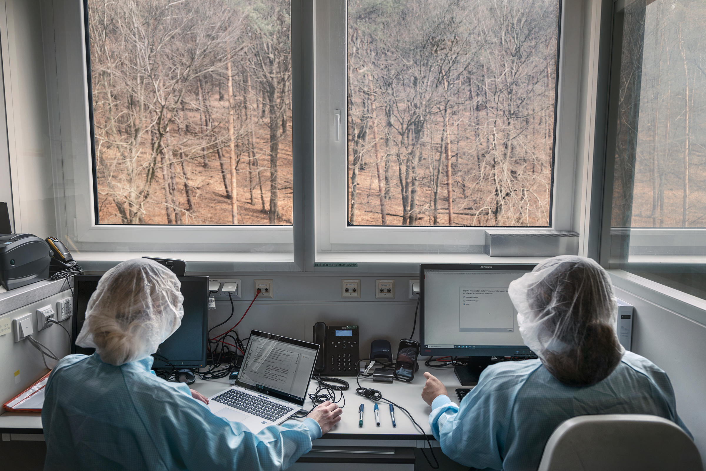 The new BioNTech production facility is in a wooded valley in Marburg. Technicians working in one of the prep labs often spot deer roaming in the nearby forest.