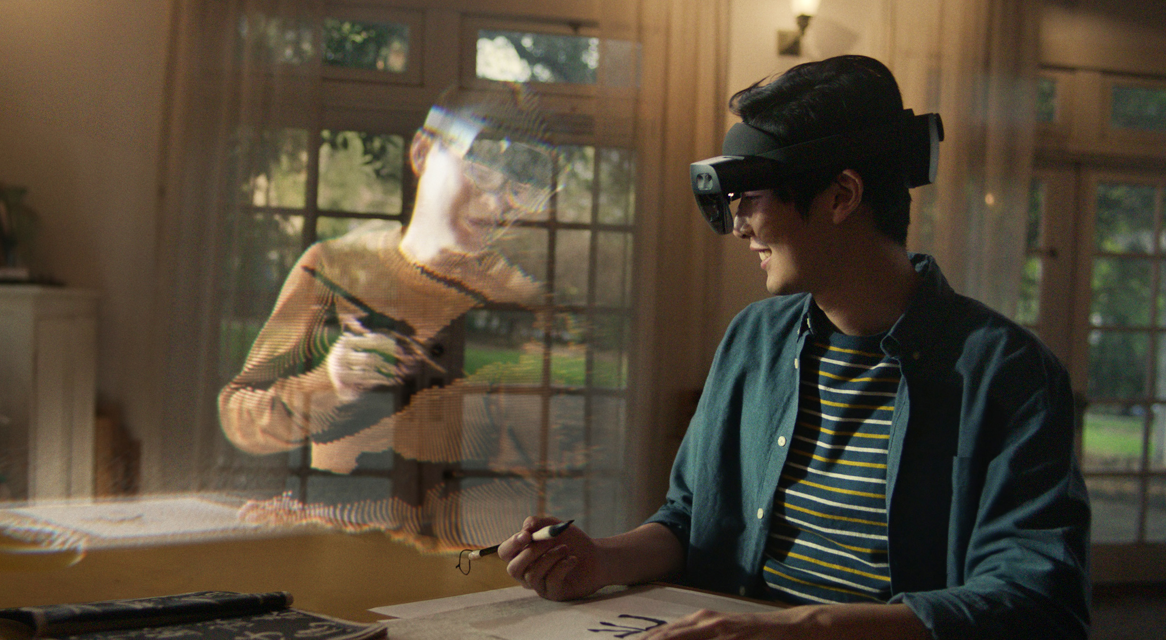 A still from Microsoft Mesh, a new mixed-reality platform powered by Azure that allows people in different physical locations to join collaborative and shared holographic experiences on many kinds of devices.