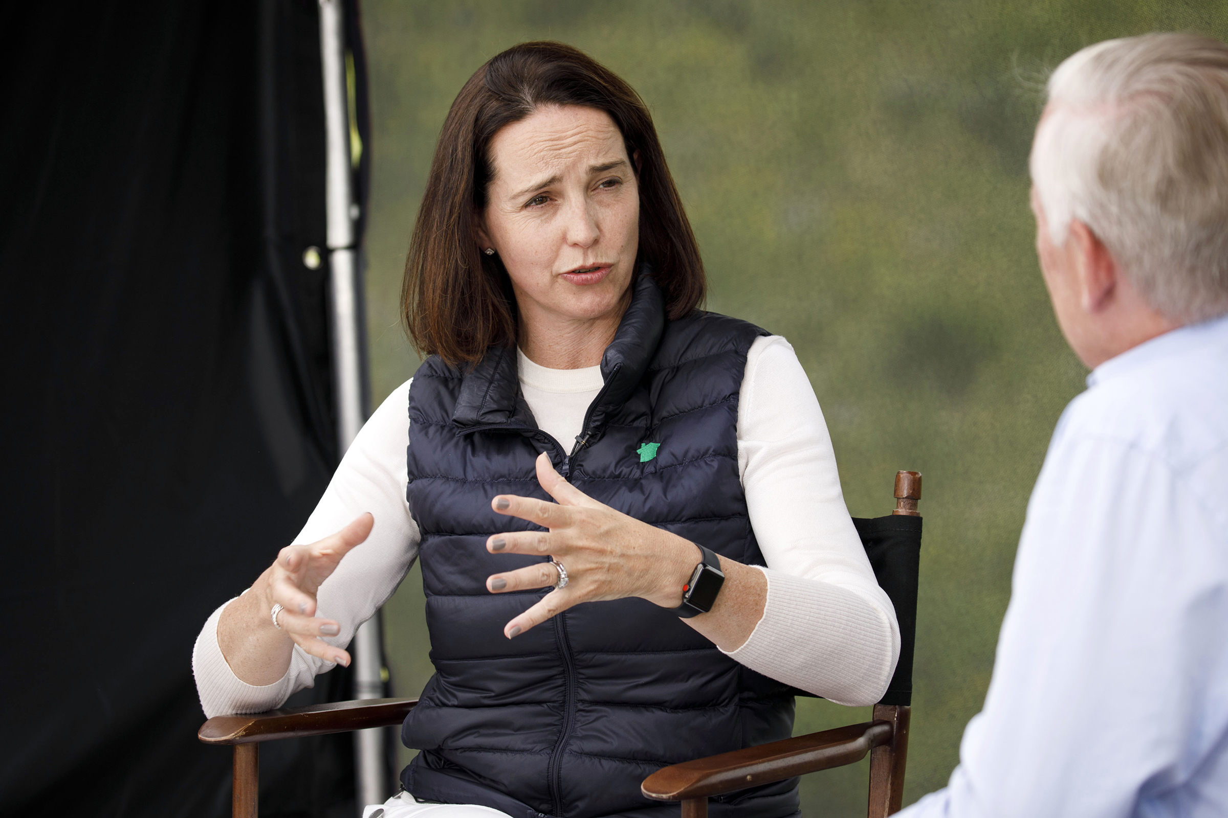 Sarah Friar, CEO of Nextdoor, speaks during a television interview on the sidelines of the Allen & Co. Media and Technology Conference in Sun Valley, Idaho on July 10, 2019.
